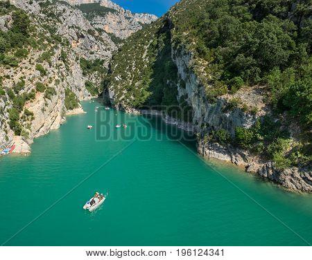 Large Panoramic View Of  Lac (lake) De Sainte-croix  (sainte-croix-du-verdon) And Grand Canyon Du Ve