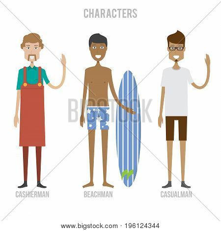 Character Set include casualman, cashierman and beachman   set of vector character illustration use for human, profession, business, marketing and much more.The set can be used for several purposes like: websites, print templates, presentation templates,