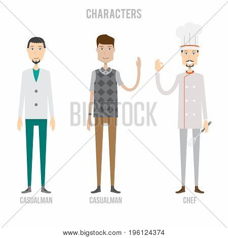 Character Set include casualman and chef   set of vector character illustration use for human, profession, business, marketing and much more.The set can be used for several purposes like: websites, print templates, presentation templates, and promotional