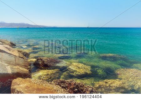 Landscape in the resort area. Accent stones, blue sea, clear sky