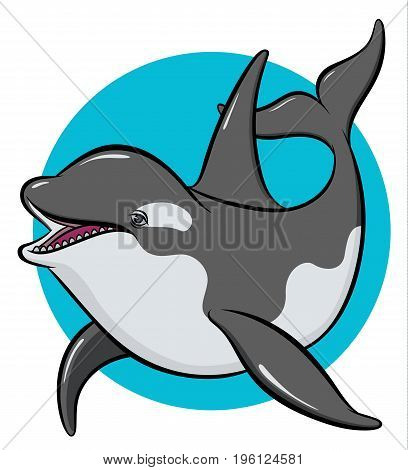 colorful art orca -  hand drawing vector paint