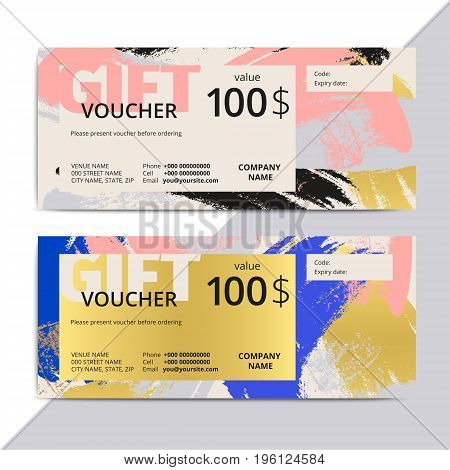 Trendy Elegant Gift Voucher Card Templates. Modern Luxury Discount Coupon Or Certificate Layout With
