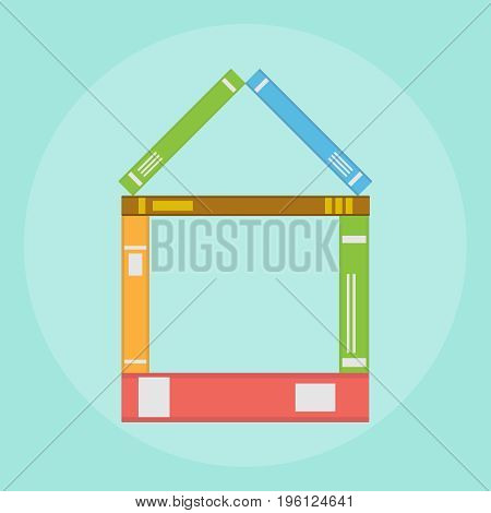 The house is made of books many books. Flat design vector illustration vector.