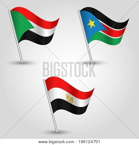 vector set of waving flags states of african nile valley on silver pole - icon of states sudan south sudan and egypt