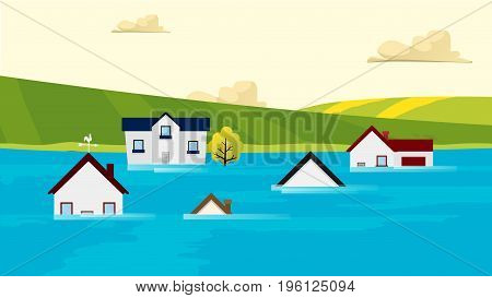 Houses flooding under water Vector. Nature disasters. Global warming