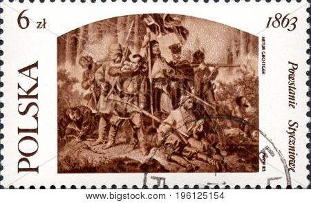 UKRAINE - CIRCA 2017: A postage stamp printed in Poland shows The Battle by Arthur Grottger 1837-67 history of Poland revolt 1863 circa 1983