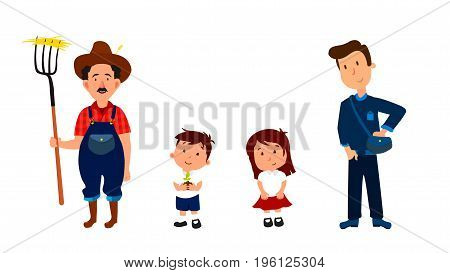 Farmer and his children cartoon characters for info graphic, websites and print media. Vector illustrations