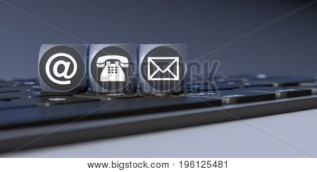 3d rendering of a three cubes with signs for email phone and letter