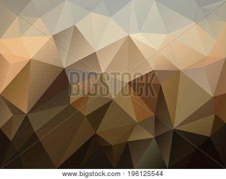 vector abstract irregular polygon background with a triangle pattern in brown beige and gray color