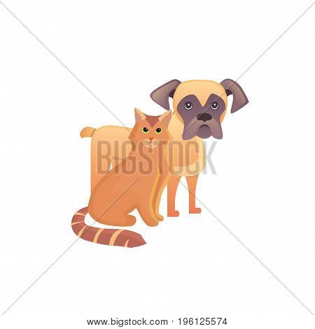 Cute home pets. Cartoon cat and dog. Best friends illustration on wite