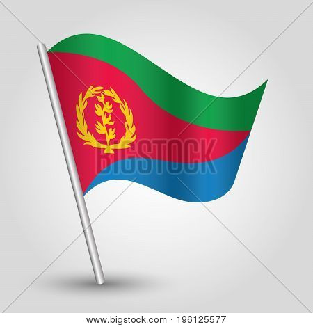 vector waving simple triangle eritrean flag on slanted silver pole - icon of eritrea with metal stick