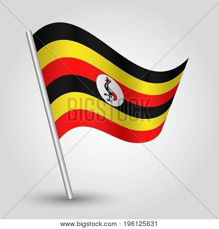 vector waving simple triangle ugandan flag on slanted silver pole - icon of uganda with metal stick