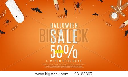 Halloween sale orange web banner. Top view on paper bats, confetti and spiders. Special seasonal offer. Vector illustration with cookies in form of skeleton gingerbread man.