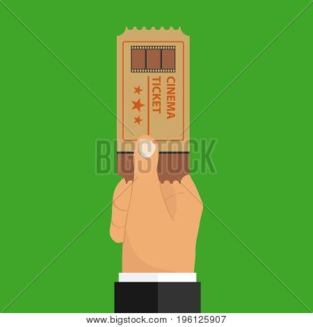 A hand holds a movie ticket a retro movie ticket. Flat design vector illustration vector.