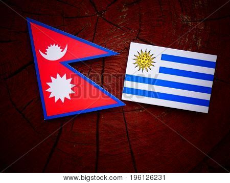 Nepali Flag With Uruguaian Flag On A Tree Stump Isolated