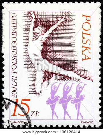 UKRAINE - CIRCA 2017: A postage stamp printed in Poland shows Male dancer from series Ballet circa 1985