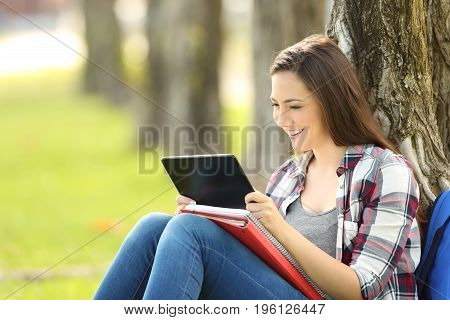 Student watching media content in a tablet sitting on the grass in a park