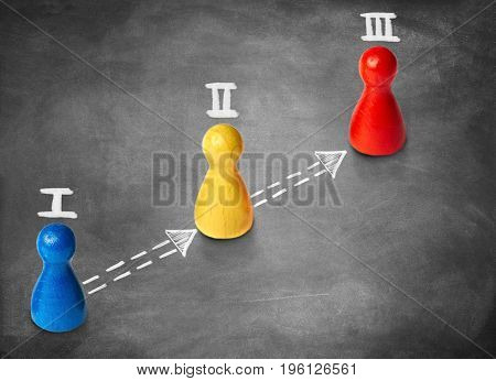 Game figures symbolize three steps or milestones on chalk background. Concept for productivity or project work