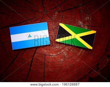 Nicaraguan Flag With Jamaican Flag On A Tree Stump Isolated