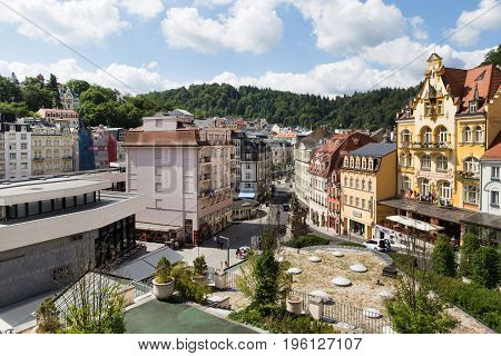 Panorama of the Karlovy Vary July 3 2017 in Karlovy Vary Czech Republic