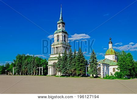 City square with bell tower and church. Slobodskoy. Russia