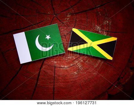 Pakistani Flag With Jamaican Flag On A Tree Stump Isolated