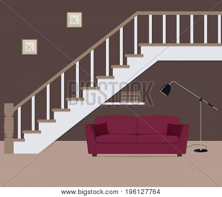 Red sofa with pillows, located under the stairs. There is also a big lamp and bookshelf in the picture. Vector flat illustration.