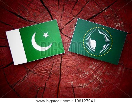 Pakistani Flag With African Union Flag On A Tree Stump Isolated