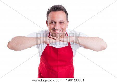 Hypermarket Employee Standing In Relax Posture