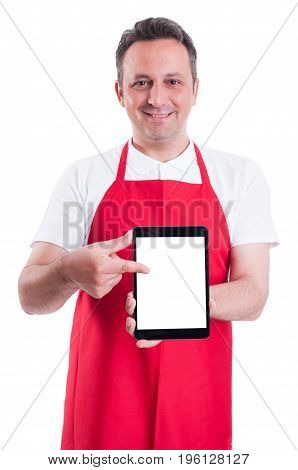 Modern Supermarket Seller Holding Blank Tablet