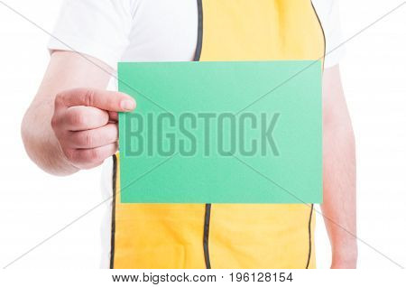 Blank Paper In Supermarket Employee Hand