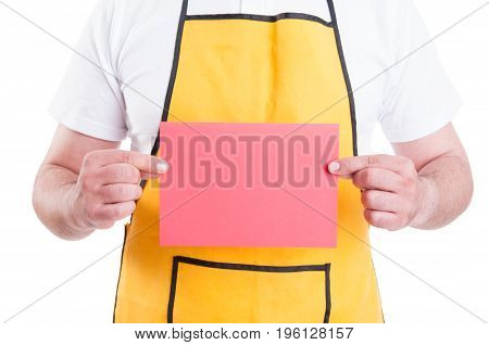 Male Employee Holding Empty Cardboard In Closeup