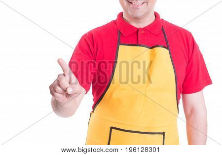 Smiling Shopman Pressing On Empty Screen