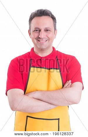 Portrait Of Confident Salesmale Standing With Arms Crossed