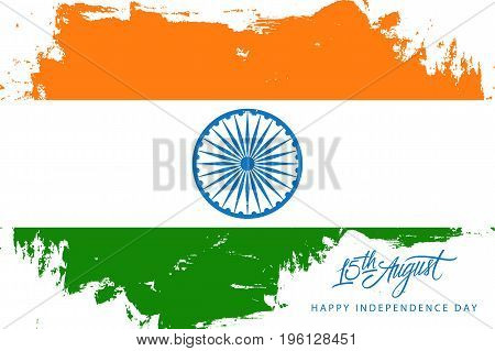 India Happy Independence Day, 15 august holiday background with brush stroke in indian national flag colors and hand lettering text design. Vector illustration.