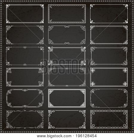 Decorative vintage frames borders backgrounds rectangle 2x1 proportions set