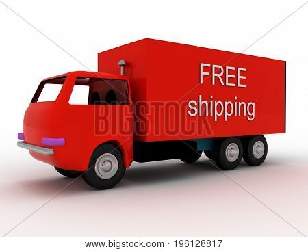 Free Delivery Of Goods To Any Place . 3D Rendered Illustration