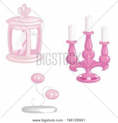 Set of pink vintage lighting objects isolated on white background. Camping lantern candlestick on three candles and sconce. Retro lamp vector