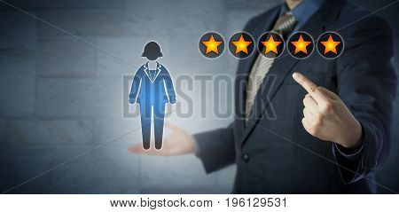 Blue chip manager is pointing at the five star rating of a female white collar worker. Human resource management metaphor for promotion performance appraisal career development and motivation.