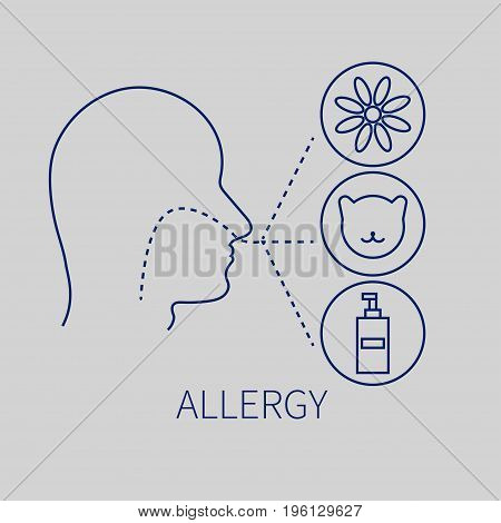 Allergies and allergens.Man and cat flower household chemicals. Vector illustration