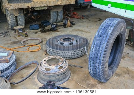bus wheel rubber waiting to repair in garage