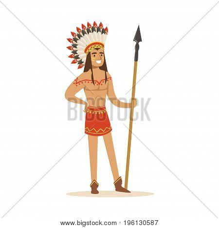 Native american indian in traditional indian clothing with a spear vector Illustration isolated on a white background