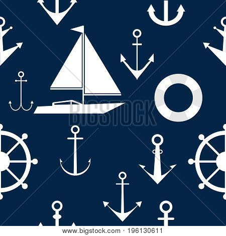 Wallpapers of anchors and steering wheels marine themes. Wallpaper on the sea theme. Flat design vector illustration vector.
