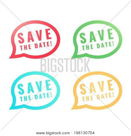 Save the Date round Buttons. Circle Eps10 Vector illustration.