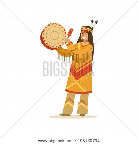 Native american indian in traditional indian clothing playing tambourine vector Illustration isolated on a white background
