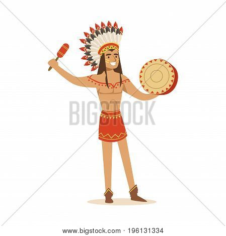 Native american indian in traditional in loincloth playing tambourine vector Illustration isolated on a white background