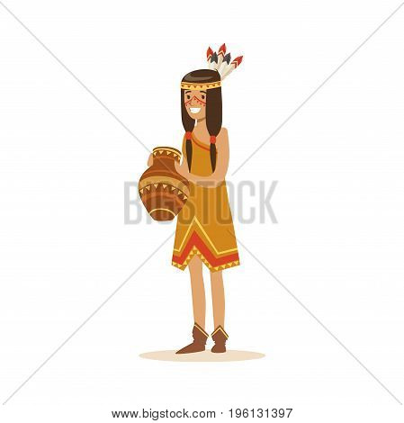 Native american indian girl in traditional indian dress holding clay jug vector Illustration isolated on a white background