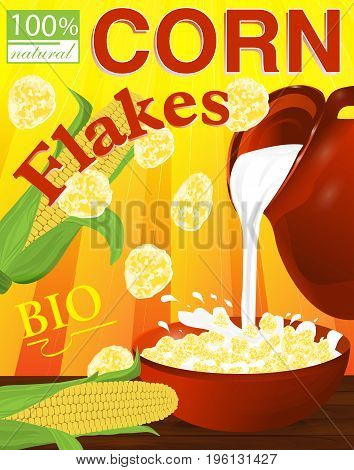 Corn flakes in a bowl. Milk pouring from the jug a plate. Label for cereal boxes. Vector illustration.