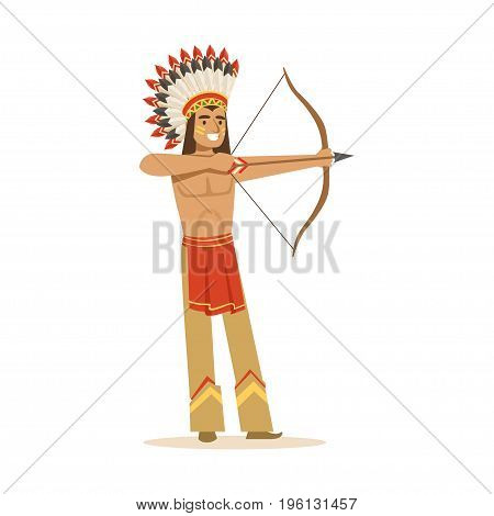 Native american indian in traditional indian clothing shooting a bow and arrow vector Illustration isolated on a white background