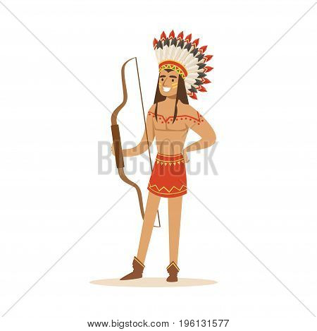 Native american indian in traditional loincloth and headdress standing with a bow vector Illustration isolated on a white background